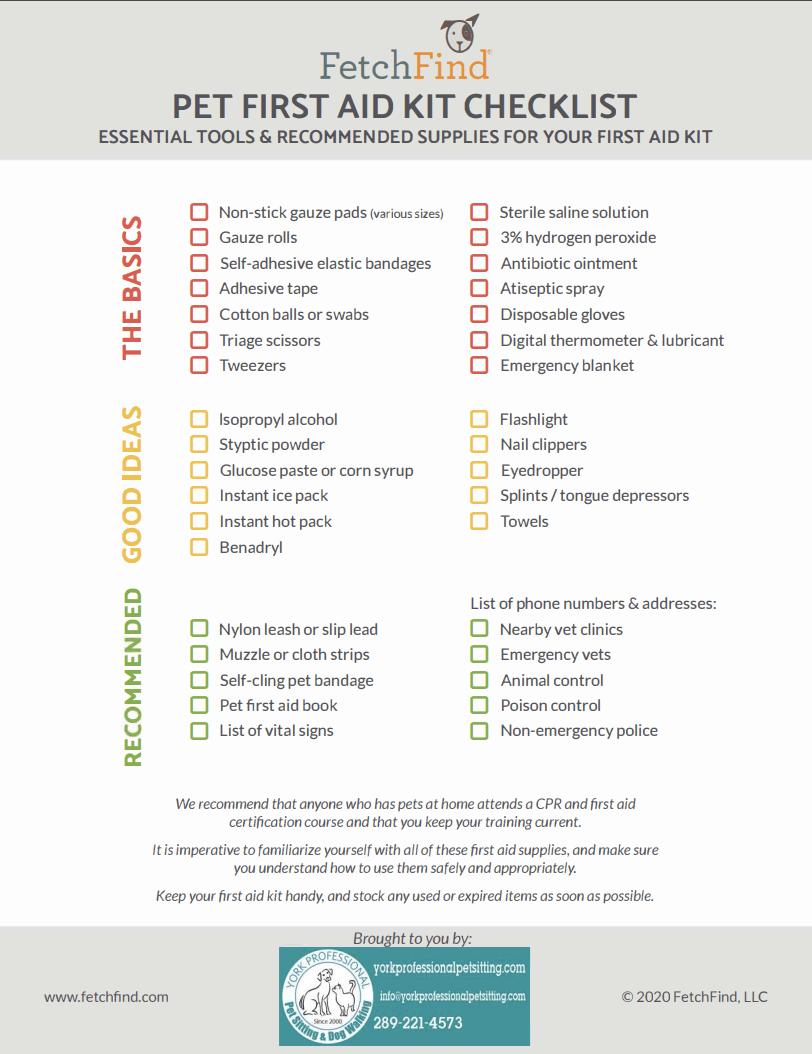 Pet First Aid Checklist